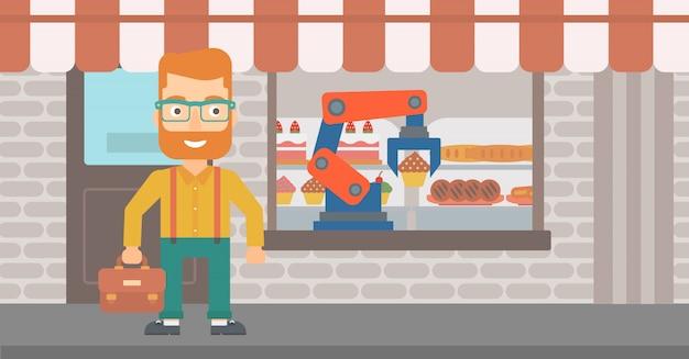 Roboterarm, der am bäckereishop arbeitet.
