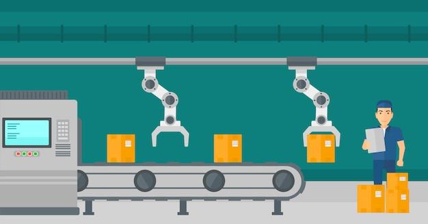 Roboterarm, der an fertigungsstraße arbeitet.