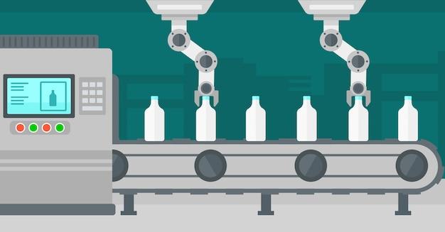 Roboterarm, der an förderband mit flaschen arbeitet.