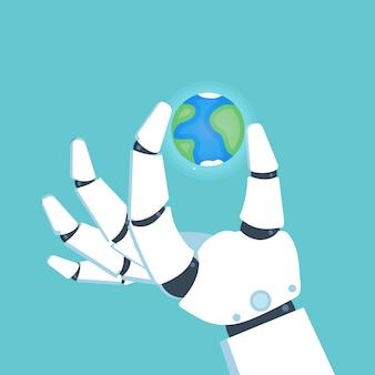 Roboterarm, hand hält planeten erde. vektor-illustration.
