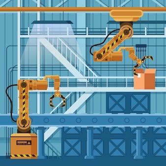 Roboterarm-kran-verpackungskarton auf förderer