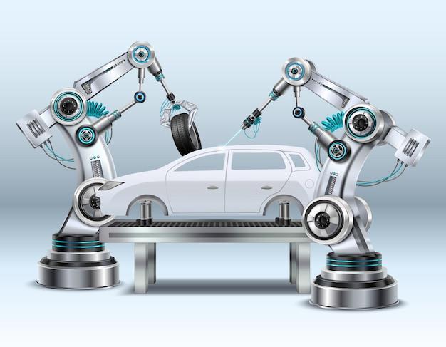 Roboterarme im automobilfertigungsstraße-herstellungsverfahren im realistischen zusammensetzungsnahaufnahmebild der automobilindustrie