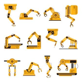 Roboterarme. mechanischer roboterarm der fertigungsindustrie, maschinentechnologie, fabrikmaschinenhände-illustrationssatz. mechanischer roboterarm, handgefertigter robotersatz