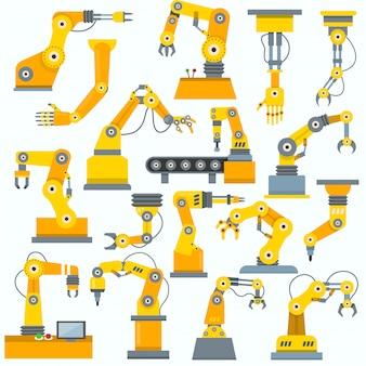 Roboterarmvektorroboter-maschinenhandindustrialausrüstung in herstellungsillustrationssatz des ingenieurcharakters der robotechnik in der industrie isoliert