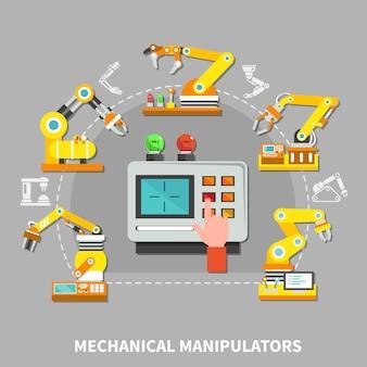 Roboterarmzusammensetzung mit gelben technischen geräten