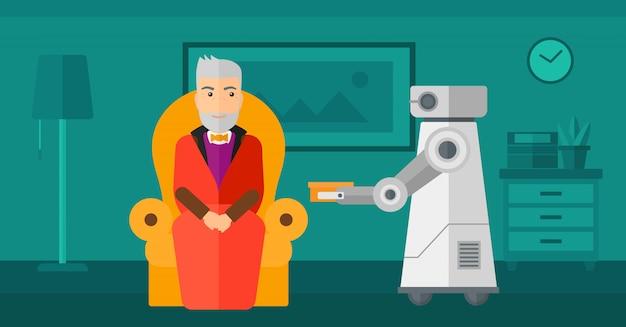 Roboterassistent, der einem älteren mann lebensmittel bringt.
