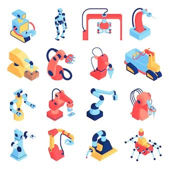 Roboterautomatisierungssatz von isolierten symbolen mit robotern und roboterarmen der verschiedenen körperformvektorillustration