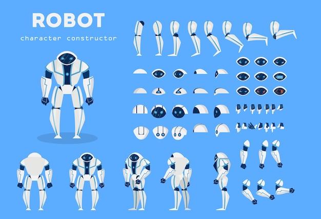 Robotercharakter für animation mit verschiedenen ansichten
