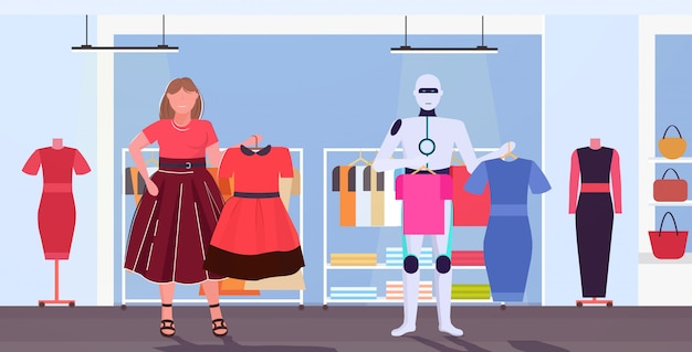 Robotercharakter und frau wählen kleider künstliche intelligenz technologie einkaufskonzept mensch gegen roboter mode boutique interieur horizontal in voller länge