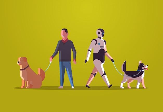 Robotercharakter und mann, die mit hunderoboter gegen den menschen steht zusammen mit der technologiekonzeptebene der künstlichen intelligenz der haustiere in voller länge horizontal gehen