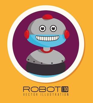 Roboterdesign über gelber hintergrundvektorillustration