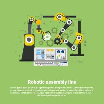 Roboterfertigungsstraße-industrielle automatisierungs-industrie-produktions-netz-fahnen-flache vektor-illustration