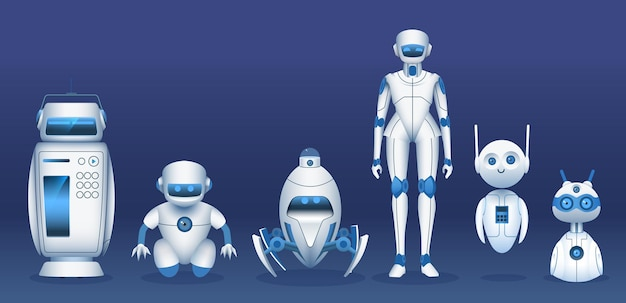 Roboterfiguren. cartoon futuristische roboter, androiden und bots. it-zukunftstechnologie, spaß-ai-assistenten-vektorsatz. illustration android-zukunftsmaschine, cyborg und roboter, technologie der zukunft