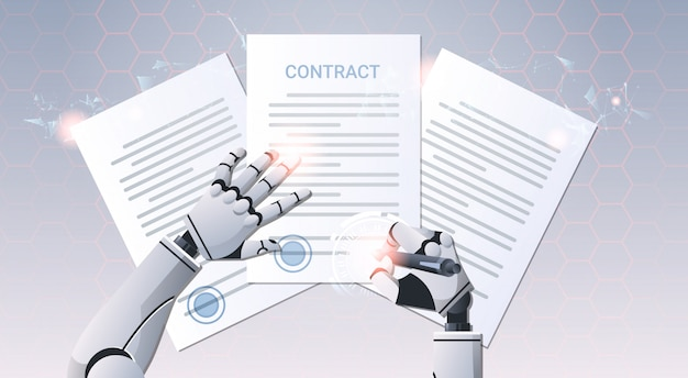 Roboterhände signieren dokumente