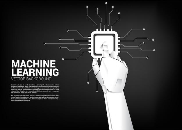 Roboterhand berühren cpu. geschäftskonzept für maschinelles lernen und einen prozessor für künstliche intelligenz