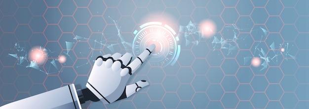 Roboterhand, die abstrakte virtuelle benutzeroberfläche berührt