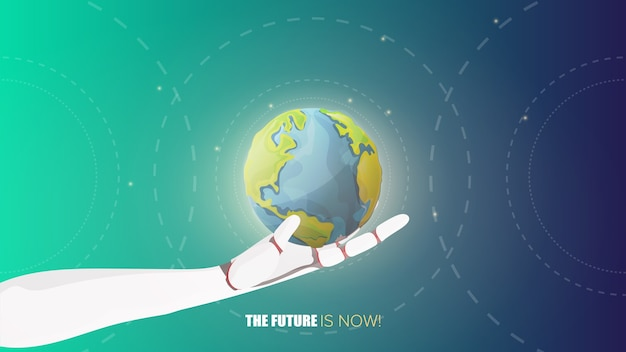 Roboterhand, die den planeten hält