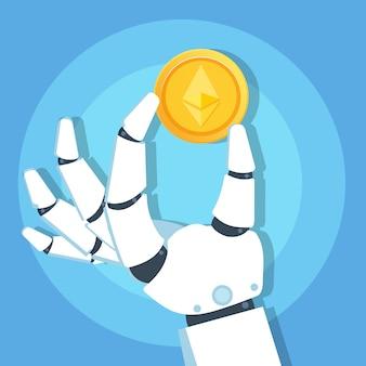 Roboterhand, die ethereum cryptocurrency goldmünzensymbol hält. blockchain-technologiekonzept. vektorillustration.