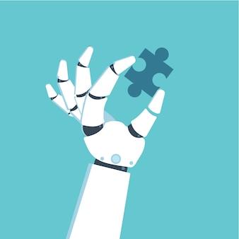 Roboterhand, die puzzle hält. problem- und lösungskonzept.