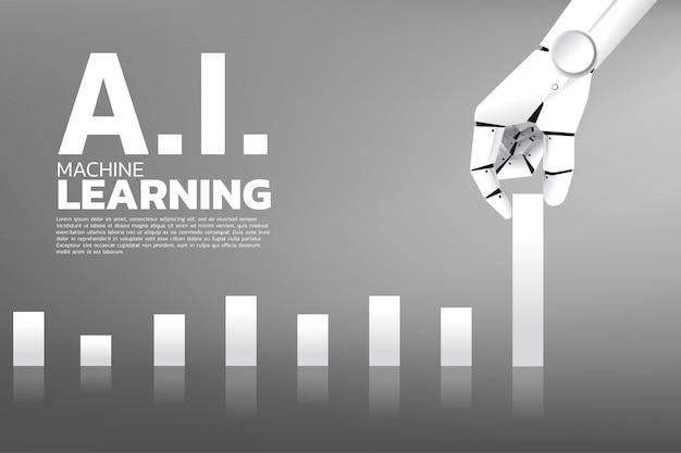 Roboterhandbewegung ziehen geschäftsdiagramm höher.
