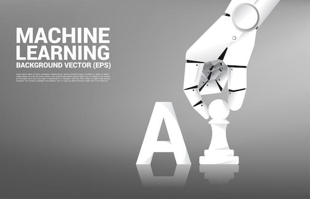 Roboterhandbewegungs-schachfigur an bord des spiels.