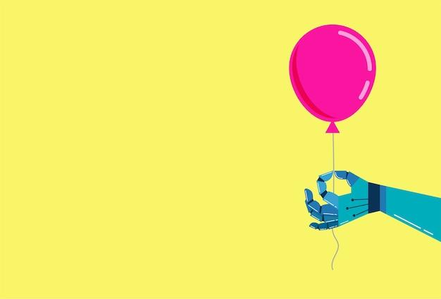 Roboterhandhintergrund mit einem rosa ballon
