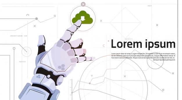 Roboterhandnoten-wolken-datenbank-wolken-datenverarbeitungstechnologie-roboter und konzept der künstlichen intelligenz
