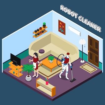 Roboterhausfrau und reinigerberufe