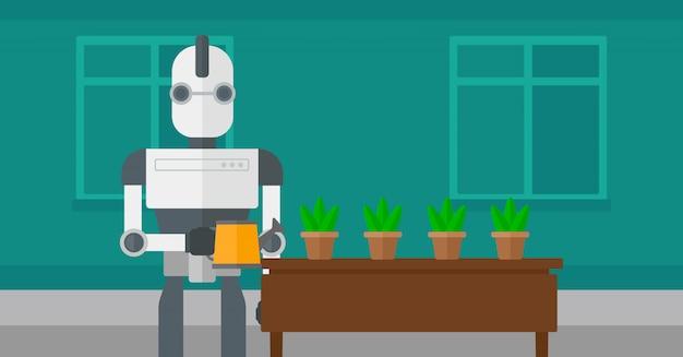 Roboterhaushälterin, die blumen wässert.