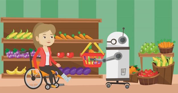 Roboterhelfer, der im supermarkt arbeitet.