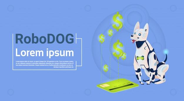 Roboterhund sitzen mit kreditkarte mobile payment für online-shopping tiermoderner roboter-haustier-künstliche intelligenz-technologie