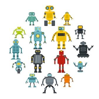 Roboterikonen eingestellt in flachen stil
