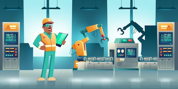 Roboterisiertes industrielles produktionskarikaturkonzept. roboterhände, die an modernem fabrik- oder betriebsförderer arbeiten