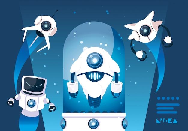 Roboterkarikatur über blau