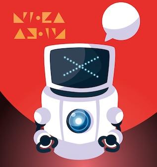 Roboterkarikatur über rot