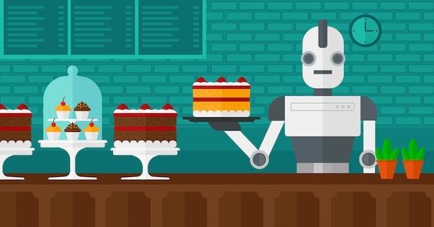 Roboterkellner, der an der konditorei arbeitet.