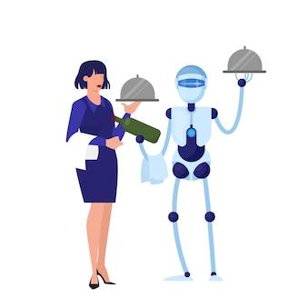 Roboterkellner und kellnerin arbeiten zusammen. ein konzept des mechanischen service. cyborg steht einer frau zur seite.