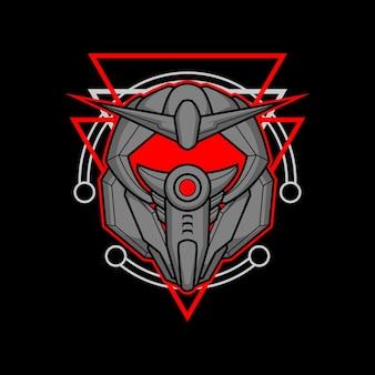 Roboterkopf 001 mit heiliger geometrie