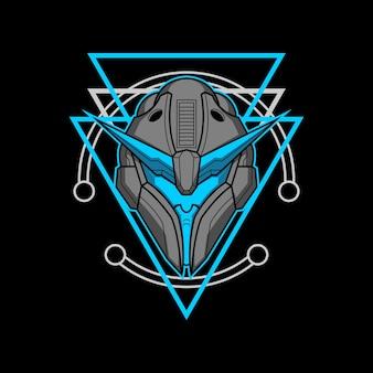 Roboterkopf 008 mit heiliger geometrie
