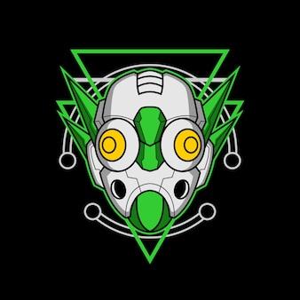 Roboterkopf 009 mit heiliger geometrie