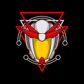 Roboterkopf 010 mit heiliger geometrie