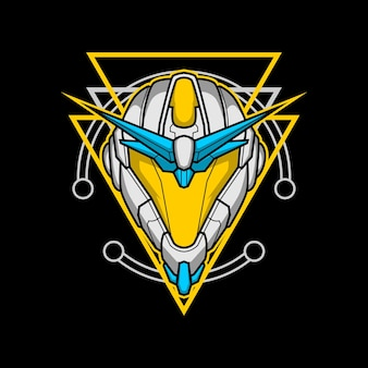 Roboterkopf 011 mit heiliger geometrie