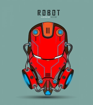 Roboterkopf charakter design. roboterschädel-logoillustration.