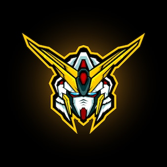 Roboterkopf maskottchen logo design