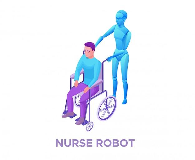 Roboterkrankenschwester, die behindertem mann im rollstuhl hilft