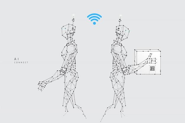 Roboterlieferung im polygonalen drahtgitterstil