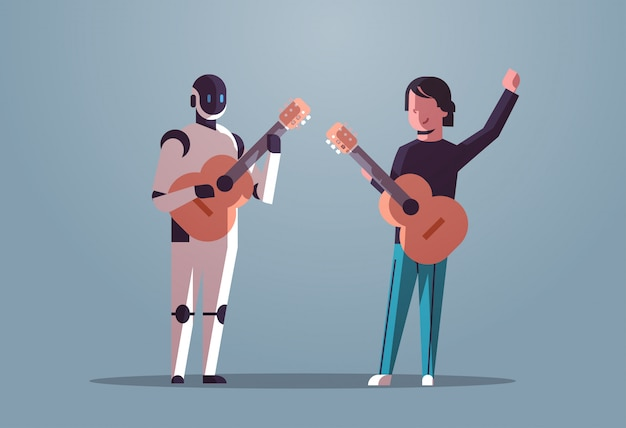 Robotermusiker mit dem manngitarristen, der akustikgitarreroboter gegen den menschen zusammen steht das technologiekonzept der künstlichen intelligenz flach in voller länge horizontal spielt