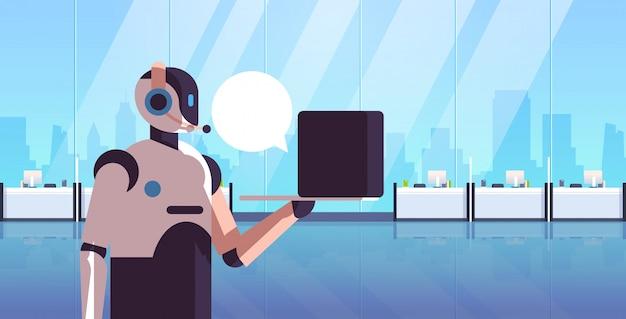 Roboteroperatorberater, der das laptopchatblasen-kundenunterstützungs-call-center-konzept-technologie der künstlichen intelligenz modernes büroinnenporträt horizontal verwendet Premium Vektoren