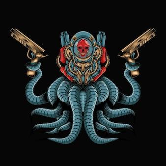 Roboterschädel-krakenkämpfer-grafikillustration
