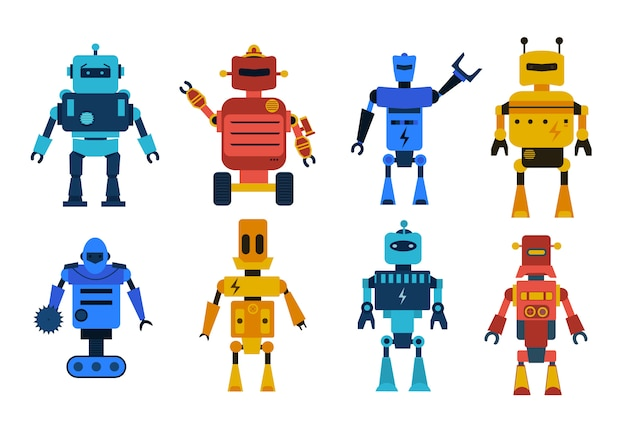 Roboterspielzeug-zeichensatz. sammlung von karikaturrobotern, transformator und androiden lokalisiert auf weißem hintergrund. technologie, die zukunft.